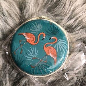 NEW 🌟 Green Double Flamingo Coin Stash Purse